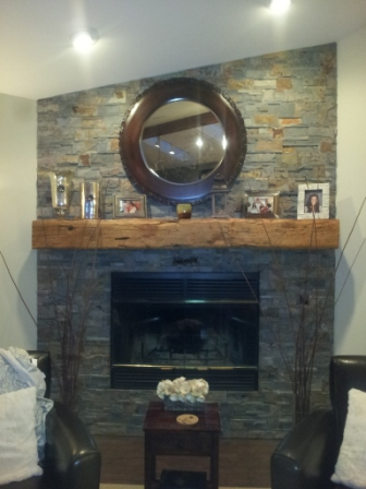 Installed authentic reclaimed barn wood beam fireplace mantels. We can supply hand hewn